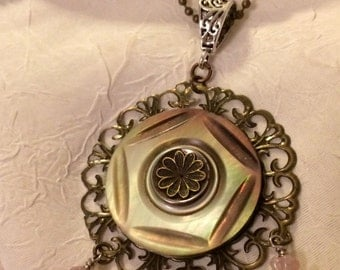 Antique, Mother of Pearl Button, Necklace by: KariWolfDesigns