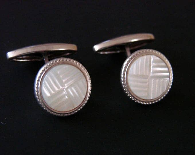 Art Deco Hand Carved Mother of Pearl Silver Cufflinks Mens Jewelry Suit Accessories Wedding