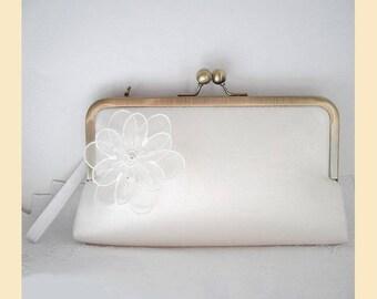 Wedding clutch bag, wristlet, ivory silk, floral corsage, Swarovski crystals, handmade bridal purse, optional personalisation