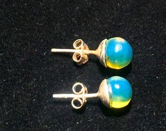 Gorgeous 6 mm  Dominican   Blue  Amber Studs  Earring  Sterling Silver