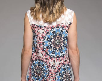 Sleeveless tank top - Transparent top with polka dots and butterflies patterns at the back - Summer tank top - Top