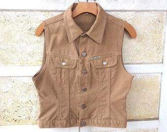 Vintage Guess Jeans Vest, Tan Denim with Blue Jean Jacket Styling, Women's size M
