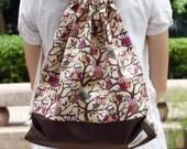 Drawstring backpack/ Drawstring bag/ gym bag ~ Little owls (B82)