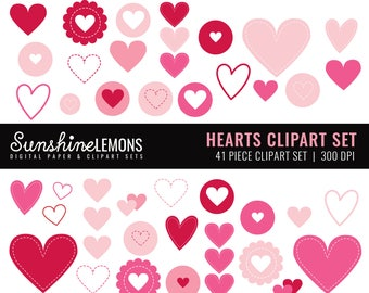 Pink and Red Hearts Clipart - Valentines Clipart - Hearts Clipart - Love Clipart - Clipart set of 41 - COMMERCIAL USE Read Terms Below