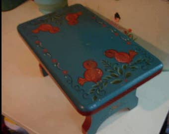 Charming vintage blue and red Hand Painted Folk Art stool, bench, Signed