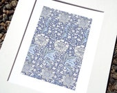 William Morris Navy Blue Botanical Pattern 1 Archival Quality Print on Watercolor Paper