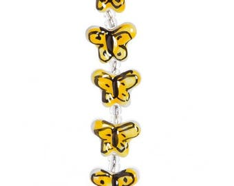 Yellow Ceramic Butterfly Bead Strand