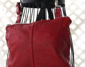 Sling Bag, Leather Sling Bag, Leather Messenger, Upcycled Recycled Repurposed, Red Leather Sling Bag, Satchel, Leather Satchel, Bag Again