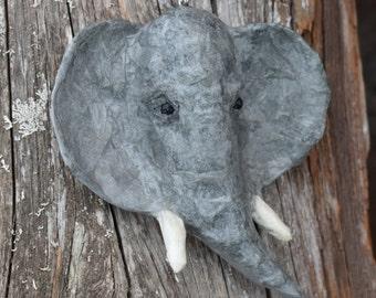 Paper Mache Elephant Head Necklace Pendant