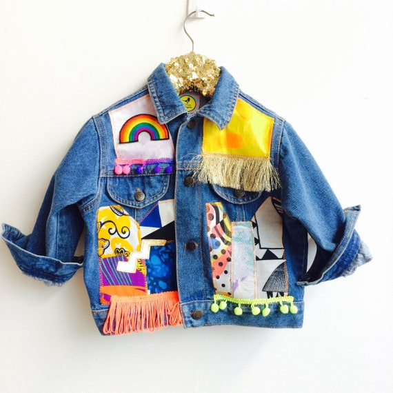 JUMP 2-3 Years Denim Jacket Upcycled with African fabric Pom Pom Trim