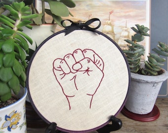"""Embroidery Hoop Art • """"Fists Up"""" Feminist Art / Home Decor (Seconds Sale)"""