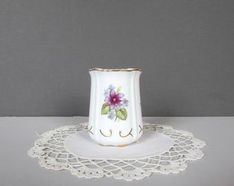Vintage Porcelain Toothpick Holder - Floral Toothpick Holder with Gold Trim