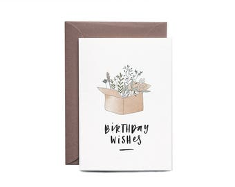 Box Of Flowers Illustrated Birthday Greeting Card