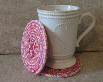 Clothesline Coasters, Coasters, Coiled Coasters, Scrappy Coasters,  Fabric coasters, Set of 2, pink, white, red, mauve