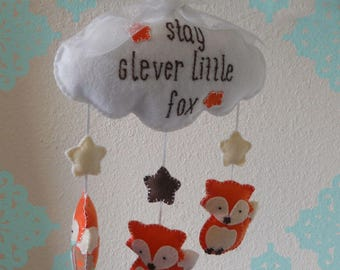 """Clever Fox and Stars Baby Mobile- """"Stay Clever Little Fox"""" Wall Hanging"""