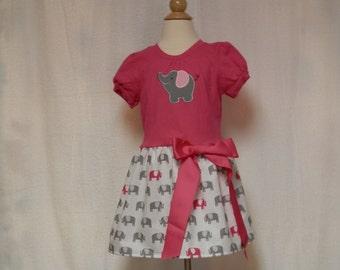 Toddler dress,party dress, infant dress,pink elephant dress,summer dress,holiday dress,pillowcase dress