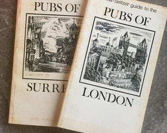 """Two Vintage Paperbacks, 1977, """"Alka-Seltzer Guide to the Pubs of Surrey"""" and """"Pubs of London"""""""