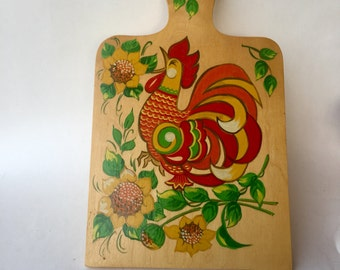 Vintage Russian Rooster Cutting Board
