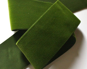 """Velvet  Ribbon - 2"""" (50MM) x 1 yard 54 Rayon  46% Nylon Color:Moss - Made in France - Vintage Velvet - Beautiful"""