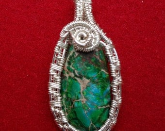Green Sea Sediment Jasper Pear Shaped Wire woven Pendant