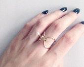 Thin band pearl & gold ball bar ring - stacking ring