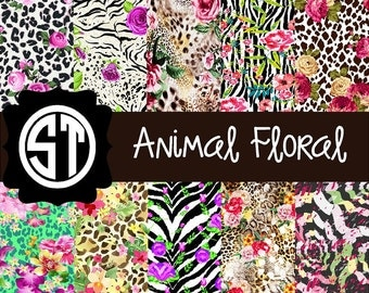 Animal Floral Patterns printed indoor, outdoor, glitter, & metallic decal VINYL or heat transfer vinyl HTV or applique FABRIC