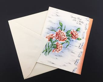 "1950s Vintage MOTHER'S DAY Greeting Card with envelope. ""You've Been Like A Mother To Me"" Unused New Old Stock NOS Mother-in-law"