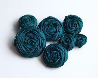 Assorted Teal Blue Fabric Rosettes Embellishment