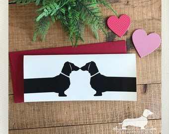 Doxie Love. Note Card -- (Anniversary Card, Kissing Dogs, Love Card, I Love You, Wedding, Dog, Dachshund, Vintage-Style, Weiner Dog, Rustic)