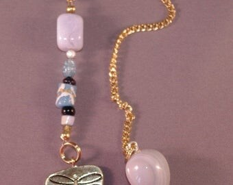 SPRING CLEARANCE Agate and Dragonfly New Age Dowsing Pendulum 124857P