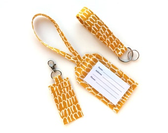 Travel Accessories Set- Luggage Tag, Chapstick/ USB Drive Holder, Keychain Wristlet- Organic Fabric- Mustard Yellow with White Designs