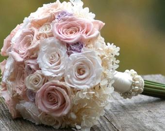 Blush Ivory Wedding Bouquet Preserved Roses Hydrangea Melissa