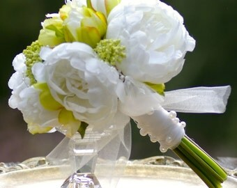 Maids Wedding bouquet White Peony green ivory
