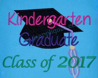 Kindergarten Class of 2017 Graduation Cap -  Graduation Embroidery Applique Design for hoop sizes 4x4, 5x7, 6x10  hoops - Instant Download