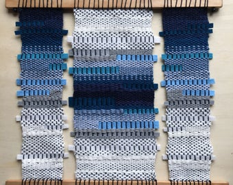 SALE - Contemporary blue woven gradient triptych textile wall hanging art weave