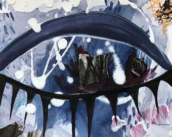 Evil Eye Art indigo blue mixed media collage home decor expressionism