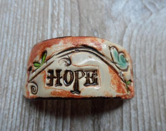 Hope Bracelet Connector Bird on a Branch  Ceramic Pottery Link