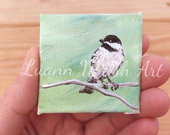 "Miniature chickadee painting - chickadee on branch - original acrylic painting by Luann Walsh - 2x2"""
