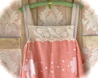 Peaches And Cream Vintage Style Apron Dress