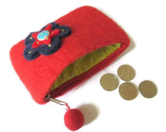 Red Upcycled Wool Felt Purse - Felted Change Purse - Coin Purse - Coin Wallet