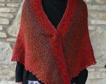 Hand Knitted Super Soft Acrylic Heather Red and Green Yarn Triangle or Prayer Shawl