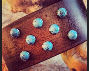 Custom Order for Cornelia / Black Rustic Leather Wristband with Turquoise / Made for Pearl Jam's Eddie Vedder by DGierat