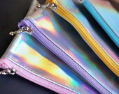 Coin purse, laser change wallet, unique girl wallet , cute wallet, rainbow gift, holographic gift, holographic bag, small  zipper wallet