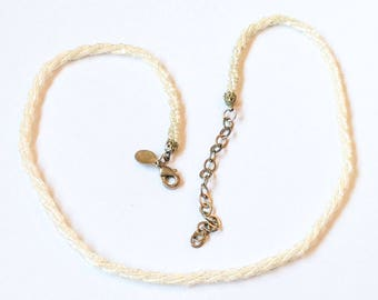 Nolan Miller Necklace, Cream, Glass, Seed Beads, Vintage Jewelry SPRING SALE