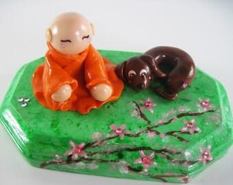 Kawaii Buddhist Monk Chibi Dachshund Dog Asian Celebration Polymer Clay Cherry Blossom Tree Sculpture Cake Topper