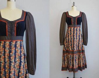 Vintage Gunne Sax Dress / 1970s Calico Velvet Corset Boho Festival Prairie Dress with Midi Skirt