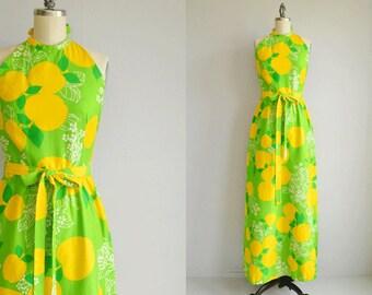 Vintage 70s Malia Maxi Dress /  1970s Mod Lime Green Floral Fruit Print Long Luau Halter Sundress / Made in Hawaii