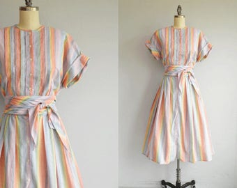 Vintage 1980s Dress / 80s Rainbow Stripe Cotton Midi Dress with Pleated Skirt / 80s Does 50s