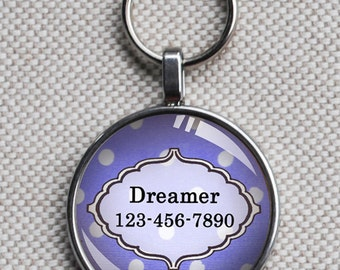 Pet iD tag one inch round CAT ID small breed Dog Tag Dog tag Cat Tag by California Kitties lavender and white polka dot round ID CT9995