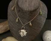Green Opal and White Shell Mermaid Necklace in Sterling Silver